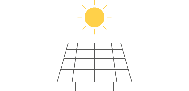 Icon Photovoltaikanlage mit Sonne