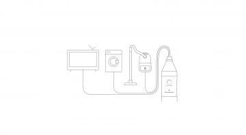 Grafik Kapazität Leistung und Leistung eines Stromspeichers mit Haushaltsgeräten wie  Fernseher, Waschmaschine, Föhn, Staubsauger