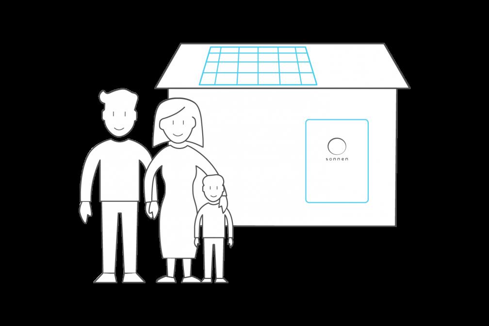 famiglia con impianto FV e sonnenBatterie
