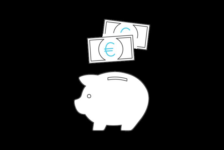 Graphik Sparschwein mit Geld