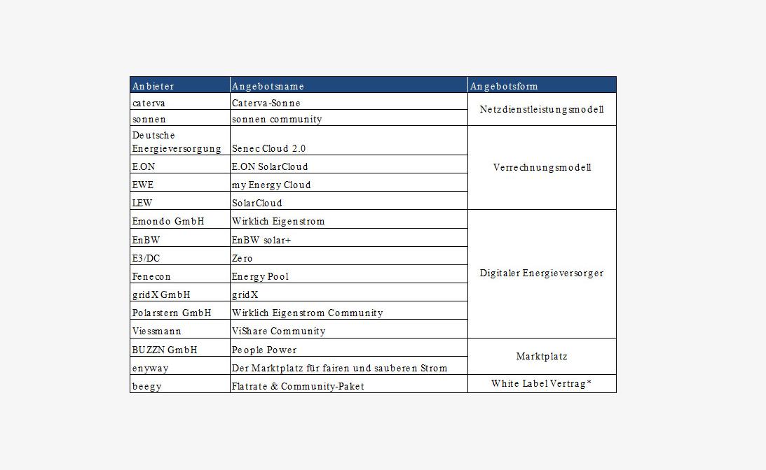Übersicht der Tarifanbieter untergliedert nach der Angebotsform, Angebotsformen: Netzdienstleistungsmodell, Verrechnungsmodell, digitale Energeiversorger, Marktplatz und White Label Vertrag