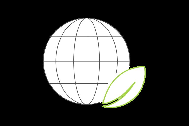 Graphik Globus mit Blatt