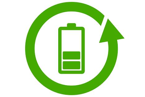 Recycling dargestellt durch Icon für eine Batterie in grün mit einem Pfeil, der die Batterie umkreist