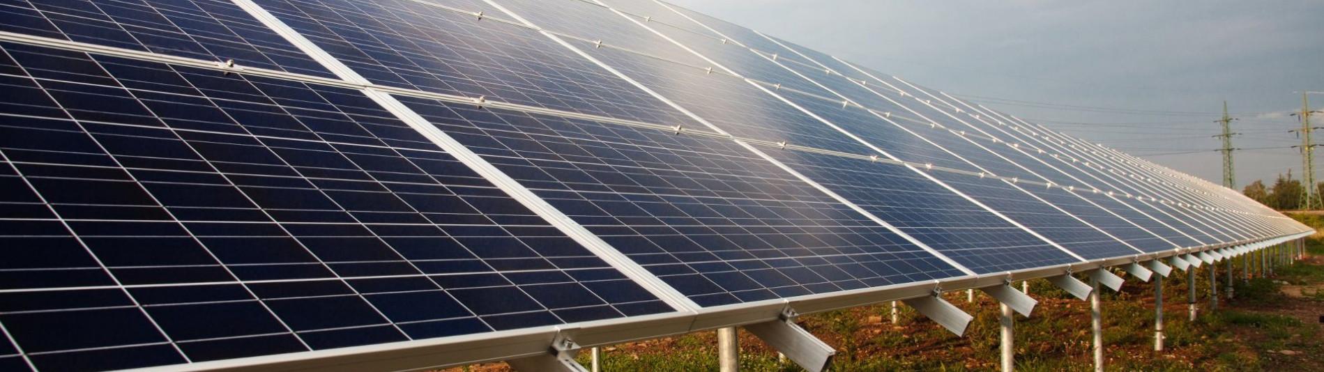 Photovoltaik-Anlage mit Solarzellen im Feld im Grünen mit spiegelndem Sonnenschein