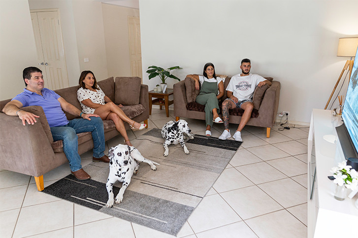 Fenech Family in their Lounge Room
