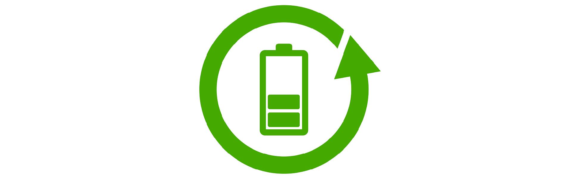 Icon Recycling dargestellt durch grüne Batterie, die von grünem Pfeil umkreist wird