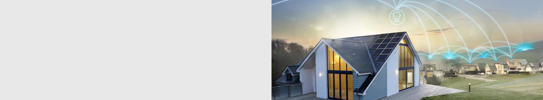 Vernetzte sonnenBatterien in Häusern im Sonnenaufgang