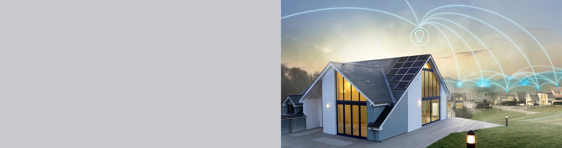 Vernetzte Häuser mit sonnenBatterien im Sonnenaufgang
