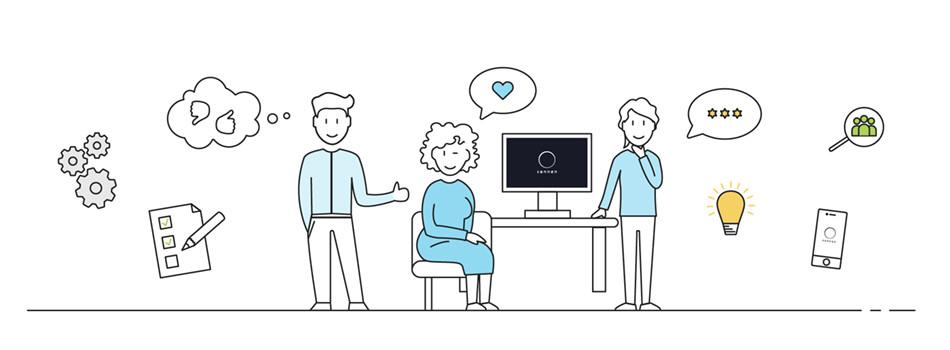 Illustration Nutzer des Kundenportals vor einem PC