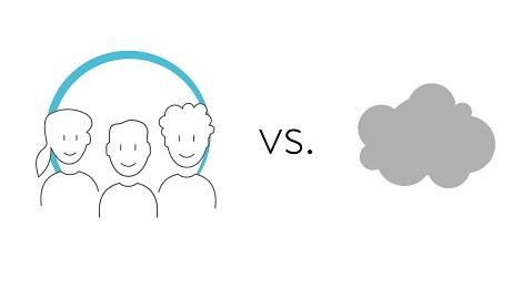 Community (dargestellt durch 3 gezeichnete Personen) vs. Cloud (dargestellt durch eine graue Wolke)
