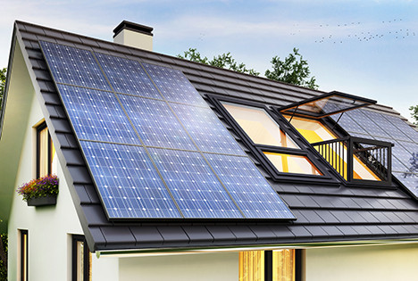 Solar panels on modern house