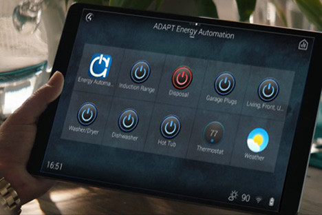 Home automation system dashboard on tablet