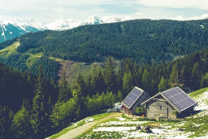 mountain and hut